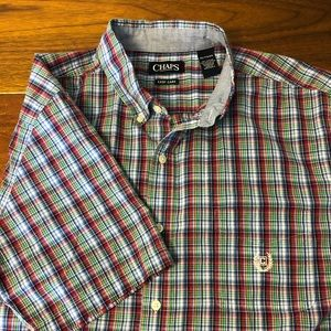 CHAPS Short Sleeve Button Up Plaid XL Easy Care